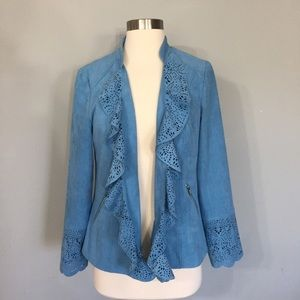 Chico's Blue Faux Suede Eyelet Open Blazer